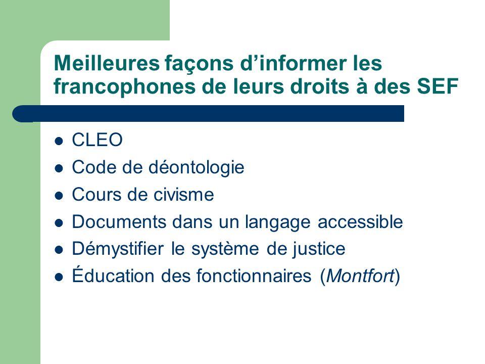 Meilleures façons dinformer les francophones de leurs droits à des SEF CLEO Code de déontologie Cours de civisme Documents dans un langage accessible