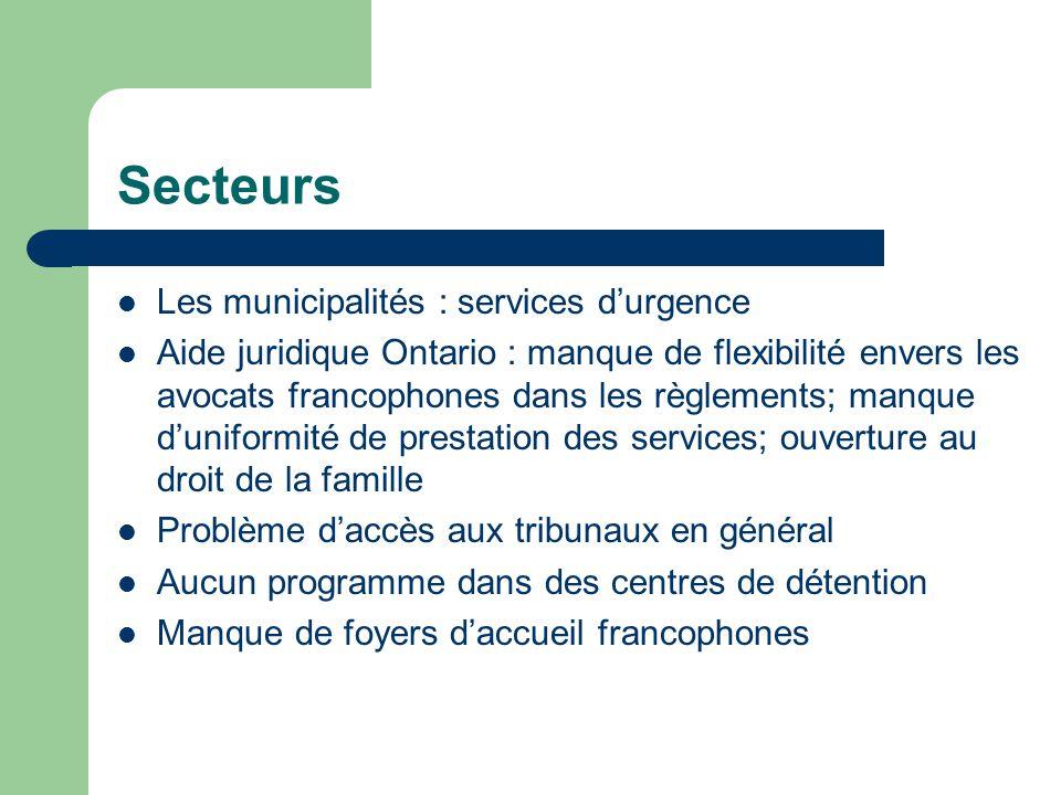 Secteurs Les municipalités : services durgence Aide juridique Ontario : manque de flexibilité envers les avocats francophones dans les règlements; man