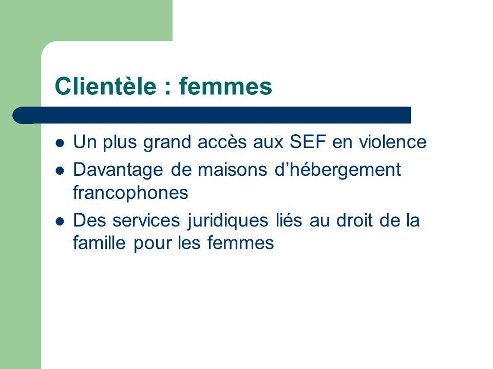 Clientèle : femmes Un plus grand accès aux SEF en violence Davantage de maisons dhébergement francophones Des services juridiques liés au droit de la