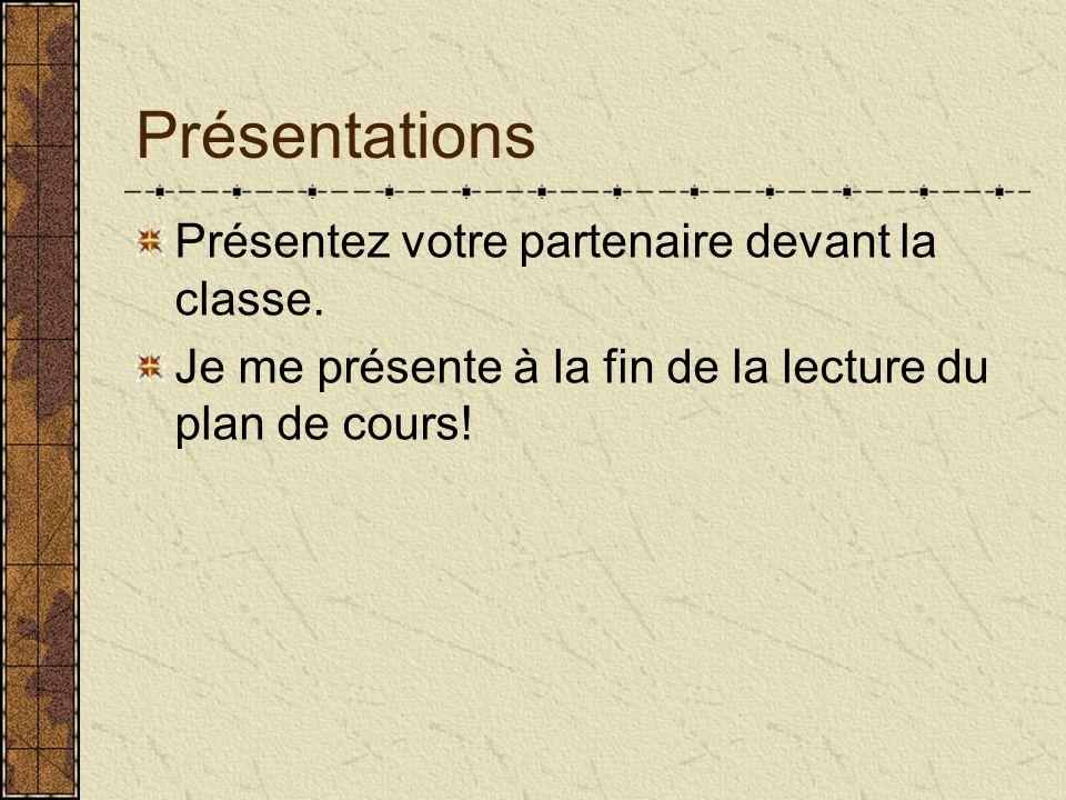 Présentations Présentez votre partenaire devant la classe. Je me présente à la fin de la lecture du plan de cours!