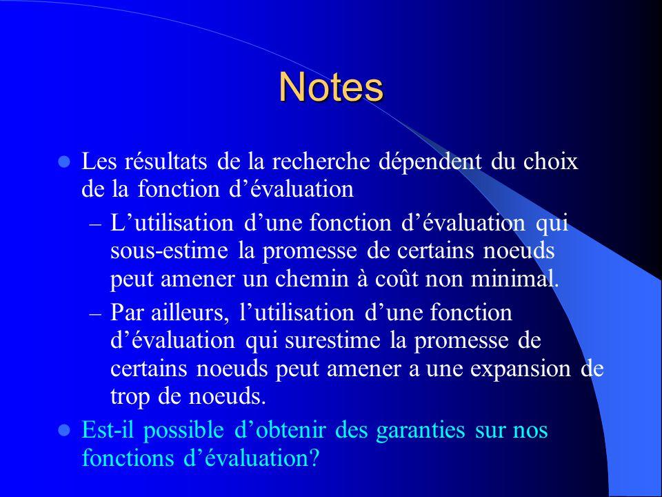 Notes Les résultats de la recherche dépendent du choix de la fonction dévaluation – Lutilisation dune fonction dévaluation qui sous-estime la promesse
