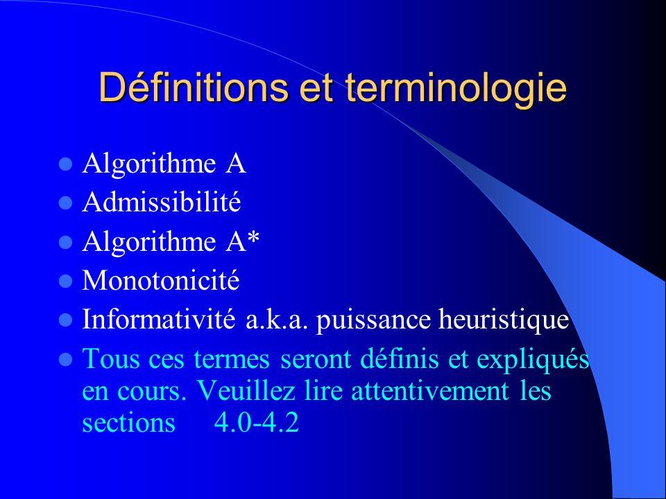 Définitions et terminologie Algorithme A Admissibilité Algorithme A* Monotonicité Informativité a.k.a. puissance heuristique Tous ces termes seront dé