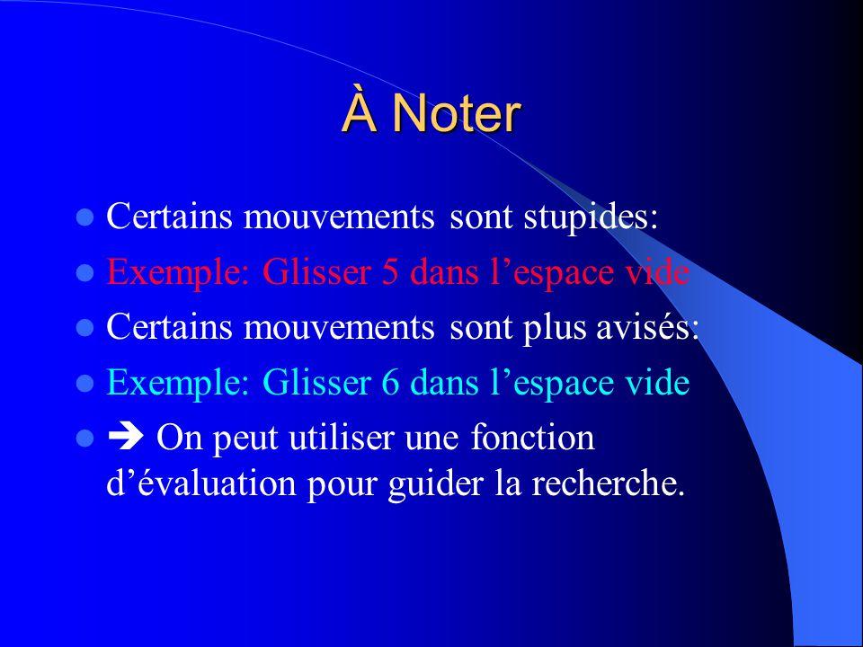 À Noter Certains mouvements sont stupides: Exemple: Glisser 5 dans lespace vide Certains mouvements sont plus avisés: Exemple: Glisser 6 dans lespace