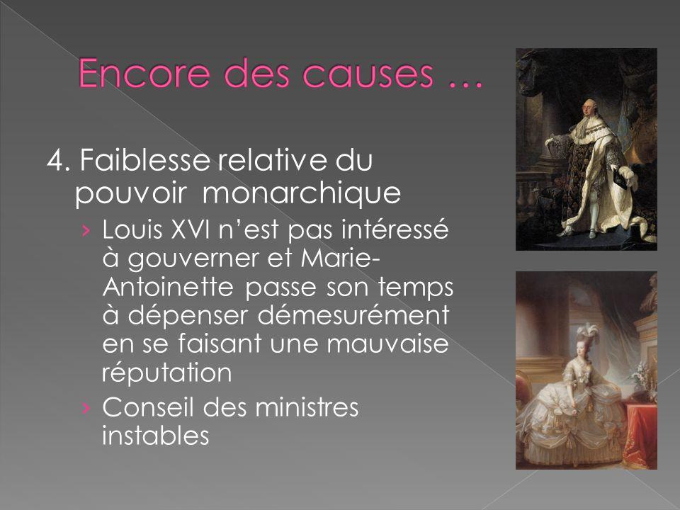 4. Faiblesse relative du pouvoir monarchique Louis XVI nest pas intéressé à gouverner et Marie- Antoinette passe son temps à dépenser démesurément en