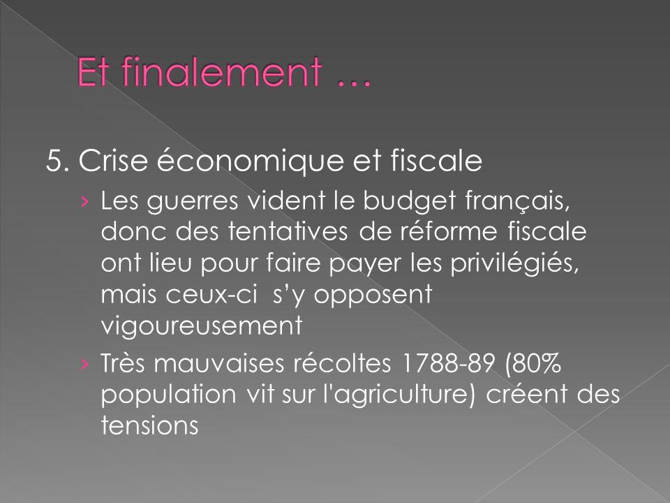5. Crise économique et fiscale Les guerres vident le budget français, donc des tentatives de réforme fiscale ont lieu pour faire payer les privilégiés