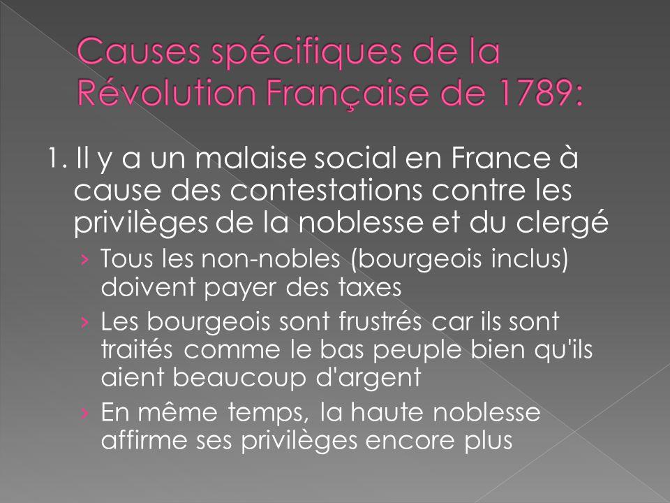 1. Il y a un malaise social en France à cause des contestations contre les privilèges de la noblesse et du clergé Tous les non-nobles (bourgeois inclu