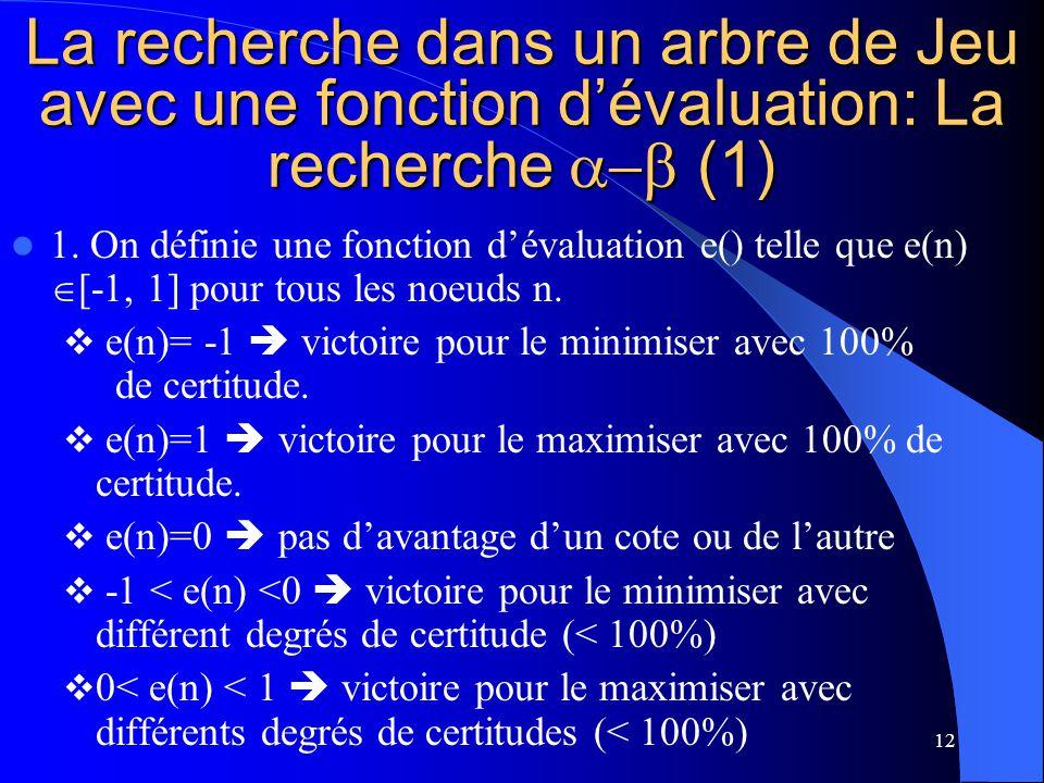 12 La recherche dans un arbre de Jeu avec une fonction dévaluation: La recherche (1) 1.