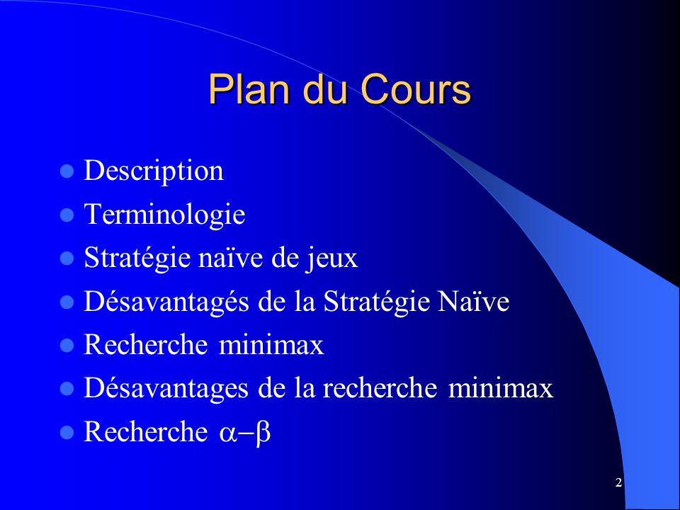 2 Plan du Cours Description Terminologie Stratégie naïve de jeux Désavantagés de la Stratégie Naïve Recherche minimax Désavantages de la recherche minimax Recherche