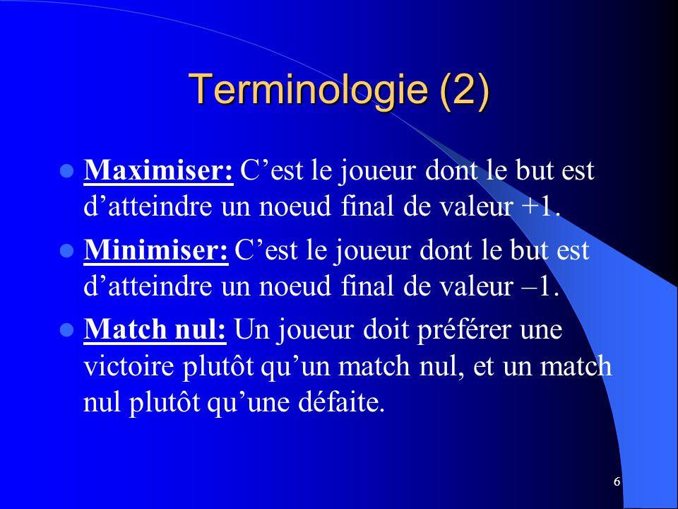 6 Terminologie (2) Maximiser: Cest le joueur dont le but est datteindre un noeud final de valeur +1.