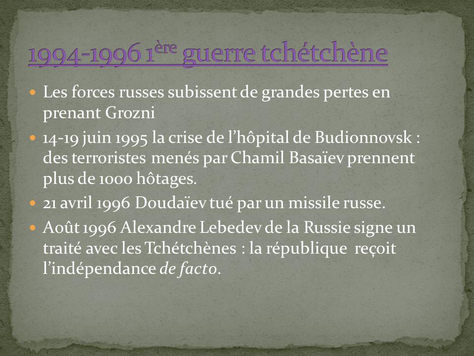 Les forces russes subissent de grandes pertes en prenant Grozni 14-19 juin 1995 la crise de lhôpital de Budionnovsk : des terroristes menés par Chamil