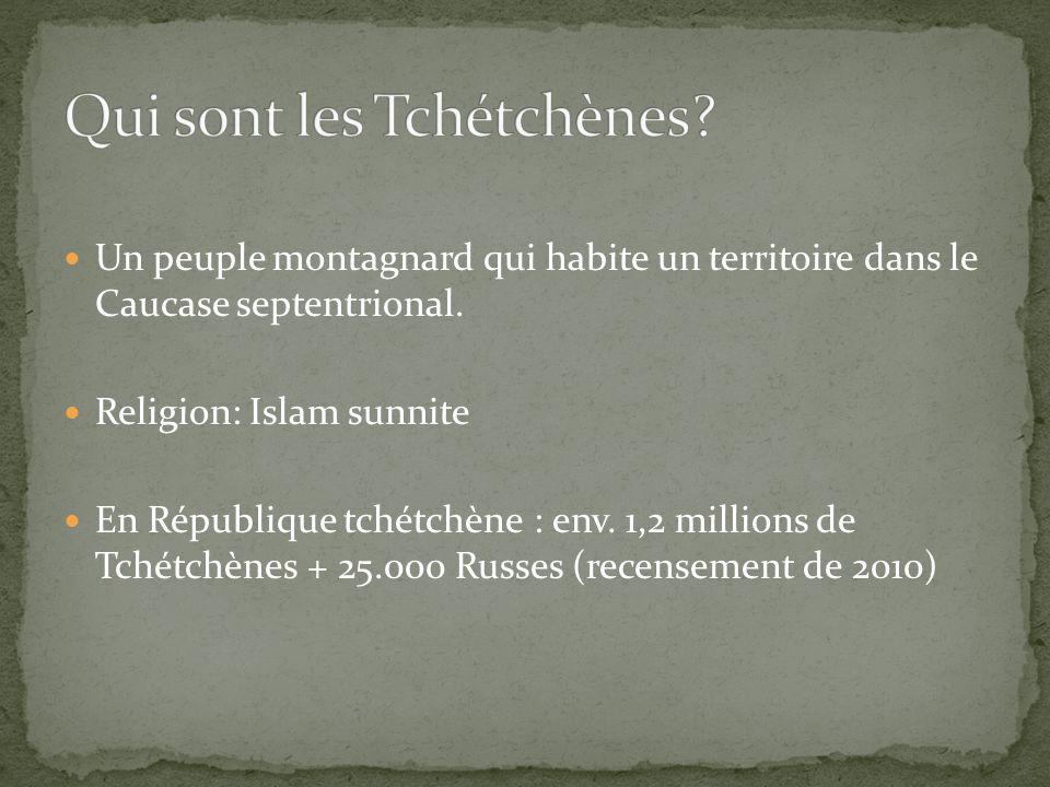 Un peuple montagnard qui habite un territoire dans le Caucase septentrional. Religion: Islam sunnite En République tchétchène : env. 1,2 millions de T