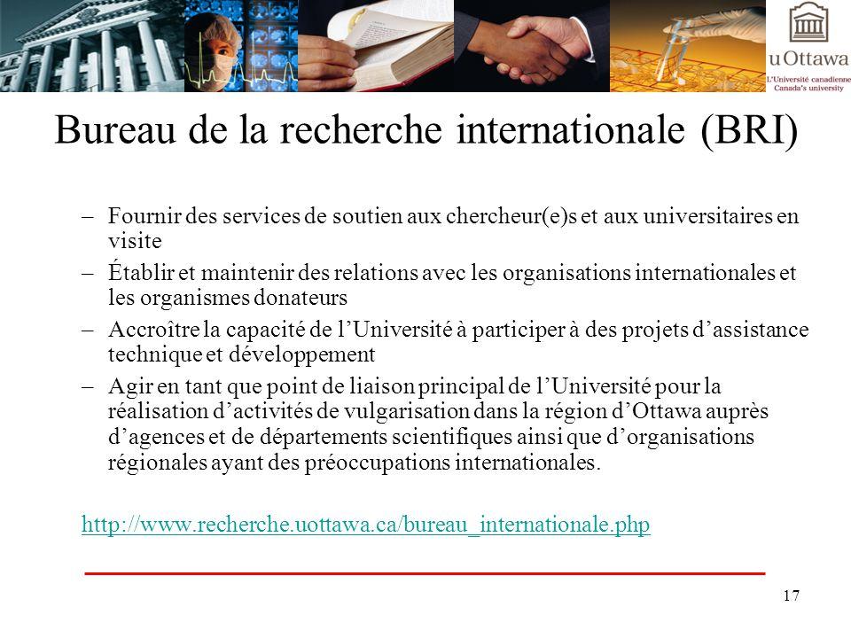 17 Bureau de la recherche internationale (BRI) –Fournir des services de soutien aux chercheur(e)s et aux universitaires en visite –Établir et mainteni