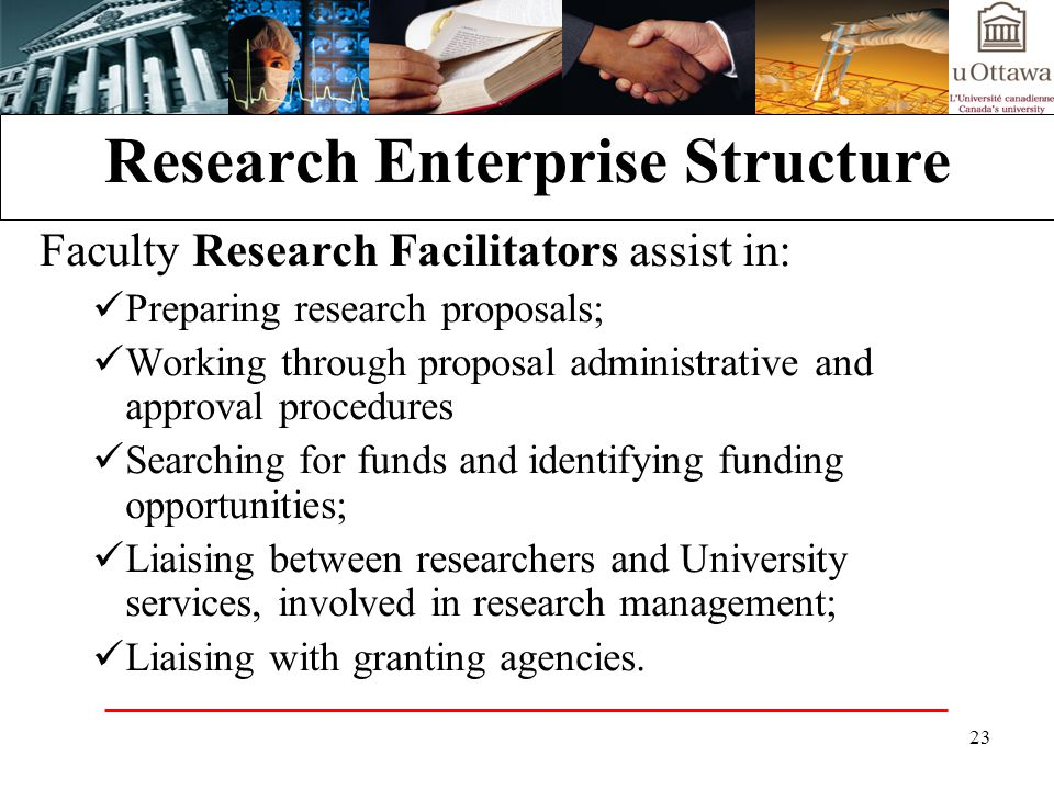 23 Research Enterprise Structure Faculty Research Facilitators assist in: Preparing research proposals; Working through proposal administrative and approval procedures Searching for funds and identifying funding opportunities; Liaising between researchers and University services, involved in research management; Liaising with granting agencies.