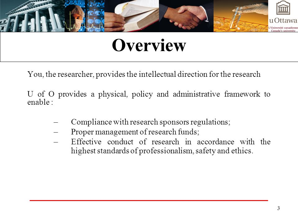 34 The process at its most basic: Researcher develops proposal Faculty / University Approval Submission to granting agency