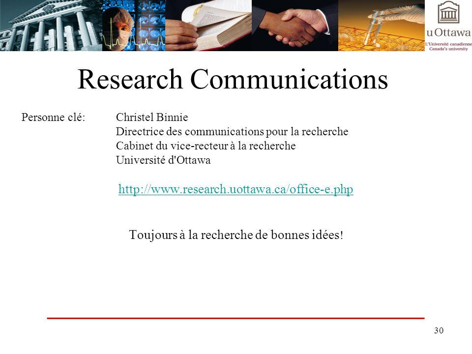 30 Research Communications Personne clé:Christel Binnie Directrice des communications pour la recherche Cabinet du vice-recteur à la recherche Univers