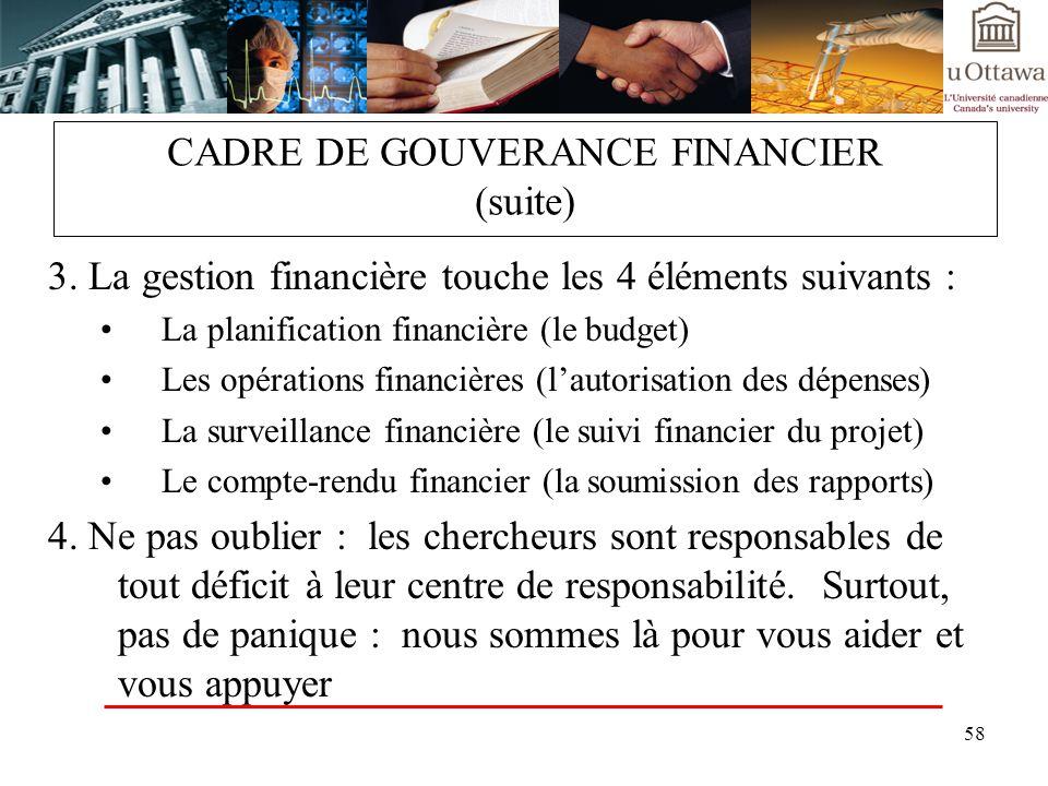 58 CADRE DE GOUVERANCE FINANCIER (suite) 3. La gestion financière touche les 4 éléments suivants : La planification financière (le budget) Les opérati