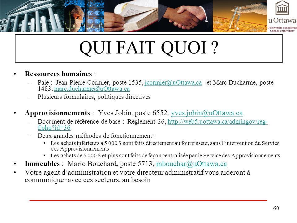 60 QUI FAIT QUOI ? Ressources humaines : –Paie : Jean-Pierre Cormier, poste 1535, jcormier@uOttawa.ca et Marc Ducharme, poste 1483, marc.ducharme@uOtt