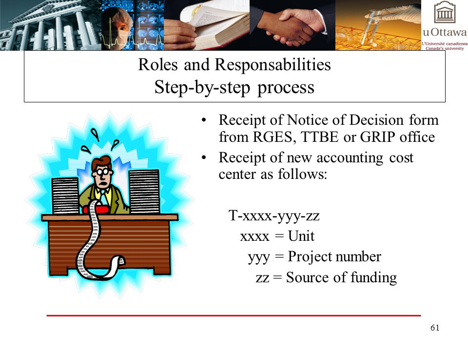 61 Roles and Responsabilities Step-by-step process Receipt of Notice of Decision form from RGES, TTBE or GRIP office Receipt of new accounting cost center as follows: T-xxxx-yyy-zz xxxx = Unit yyy = Project number zz = Source of funding