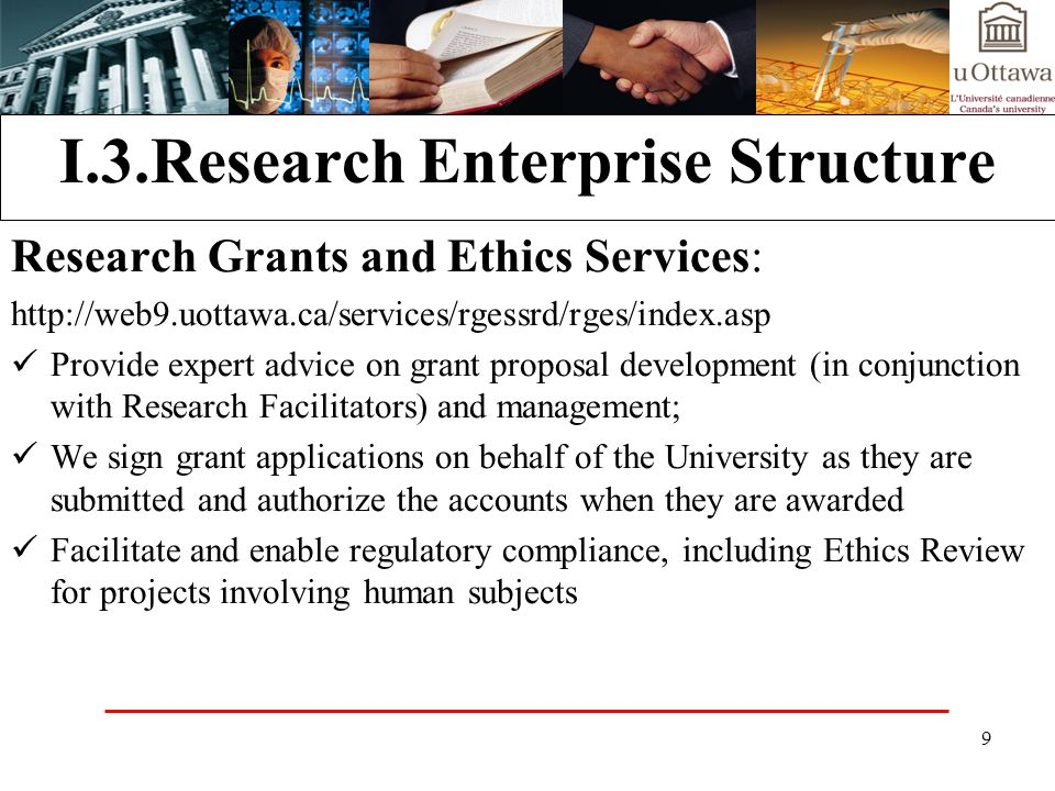 20 Research Enterprise Structure Office of Risk Management, Environmental Health and Safety (ORM): http://www.uottawa.ca/services/ehss/ http://www.uottawa.ca/services/ehss/ Biosafety Environmental Management Laboratory Safety Occupational Health and Safety Risk Management Radiation Safety Insurance