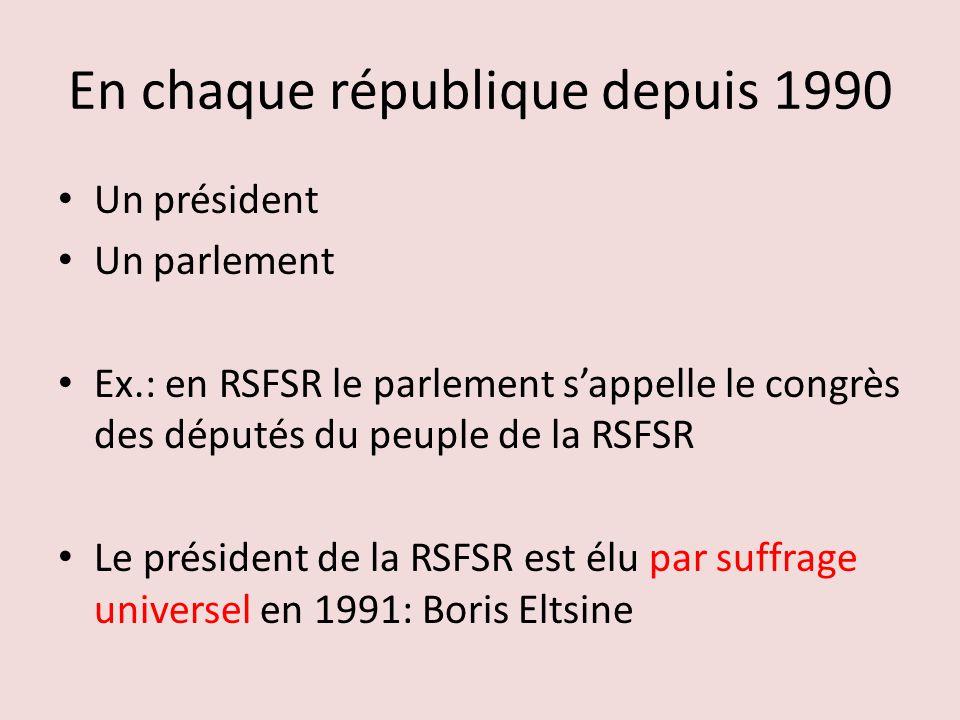 En chaque république depuis 1990 Un président Un parlement Ex.: en RSFSR le parlement sappelle le congrès des députés du peuple de la RSFSR Le président de la RSFSR est élu par suffrage universel en 1991: Boris Eltsine