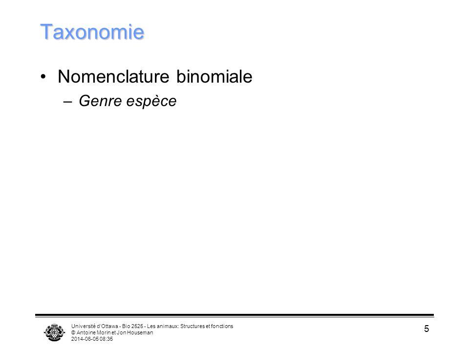 Université dOttawa - Bio 2525 - Les animaux: Structures et fonctions © Antoine Morin et Jon Houseman 2014-06-05 08:37 5 Taxonomie Nomenclature binomia