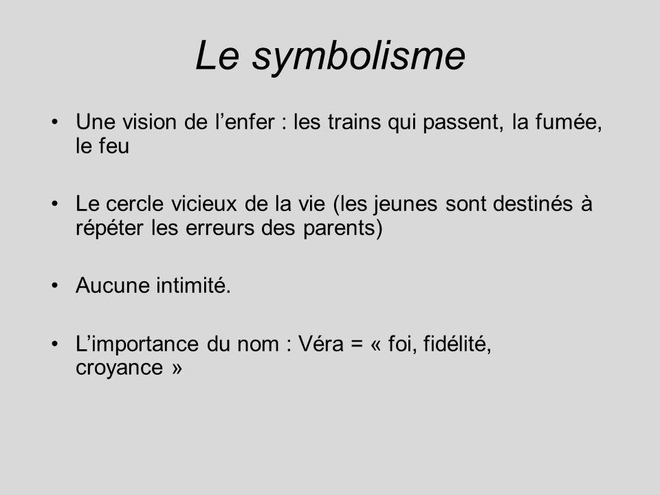 Le symbolisme Une vision de lenfer : les trains qui passent, la fumée, le feu Le cercle vicieux de la vie (les jeunes sont destinés à répéter les erre