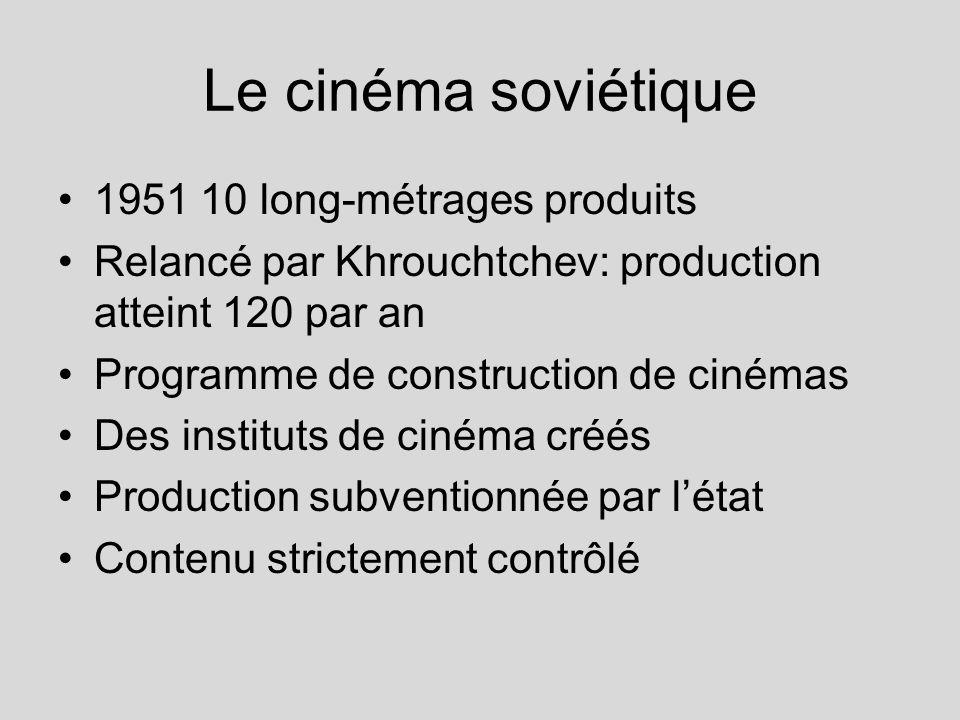 Le cinéma soviétique 1951 10 long-métrages produits Relancé par Khrouchtchev: production atteint 120 par an Programme de construction de cinémas Des i
