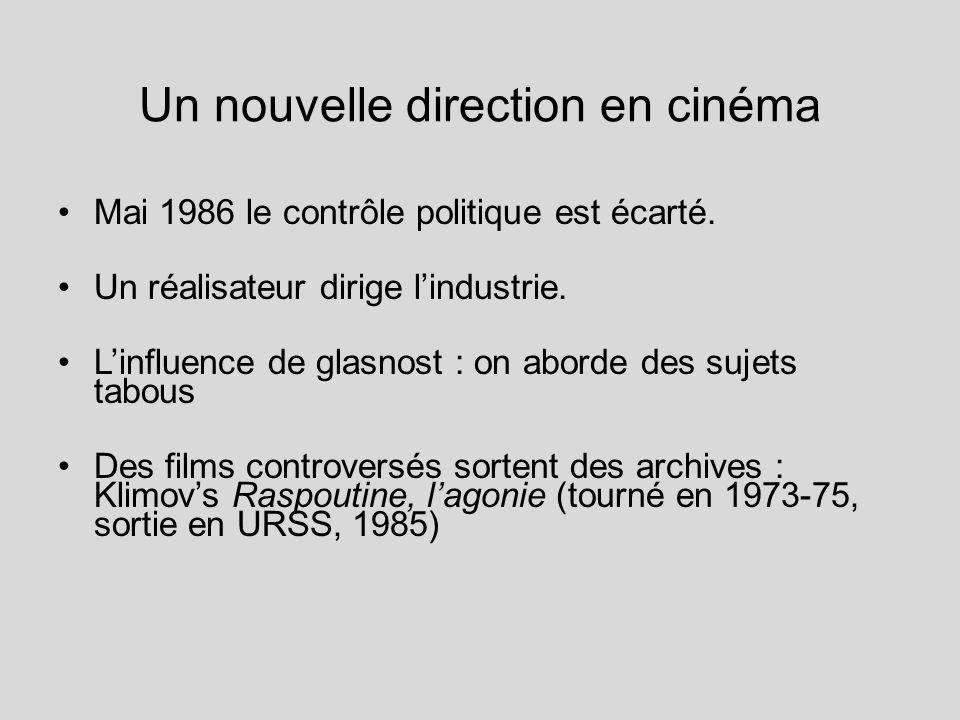 Un nouvelle direction en cinéma Mai 1986 le contrôle politique est écarté. Un réalisateur dirige lindustrie. Linfluence de glasnost : on aborde des su