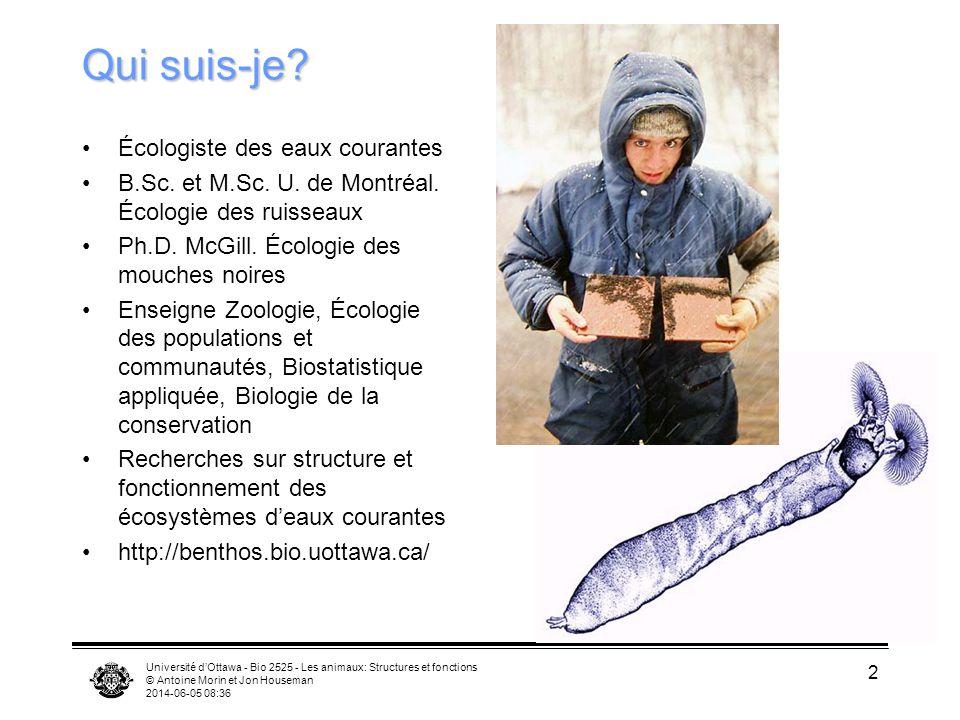 Université dOttawa - Bio 2525 - Les animaux: Structures et fonctions © Antoine Morin et Jon Houseman 2014-06-05 08:38 2 Qui suis-je? Écologiste des ea