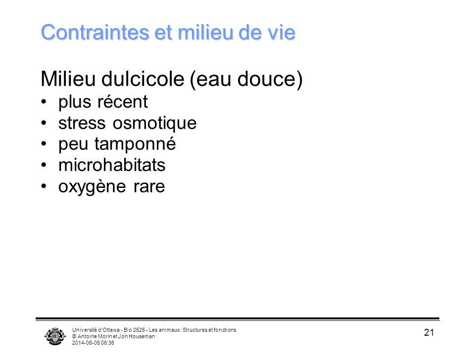 Université dOttawa - Bio 2525 - Les animaux: Structures et fonctions © Antoine Morin et Jon Houseman 2014-06-05 08:38 21 Contraintes et milieu de vie