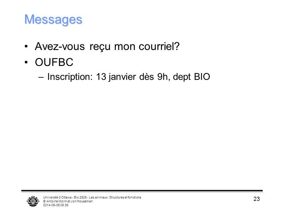 Université dOttawa - Bio 2525 - Les animaux: Structures et fonctions © Antoine Morin et Jon Houseman 2014-06-05 08:38 23 Messages Avez-vous reçu mon c