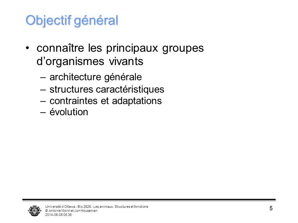 Université dOttawa - Bio 2525 - Les animaux: Structures et fonctions © Antoine Morin et Jon Houseman 2014-06-05 08:38 5 Objectif général connaître les