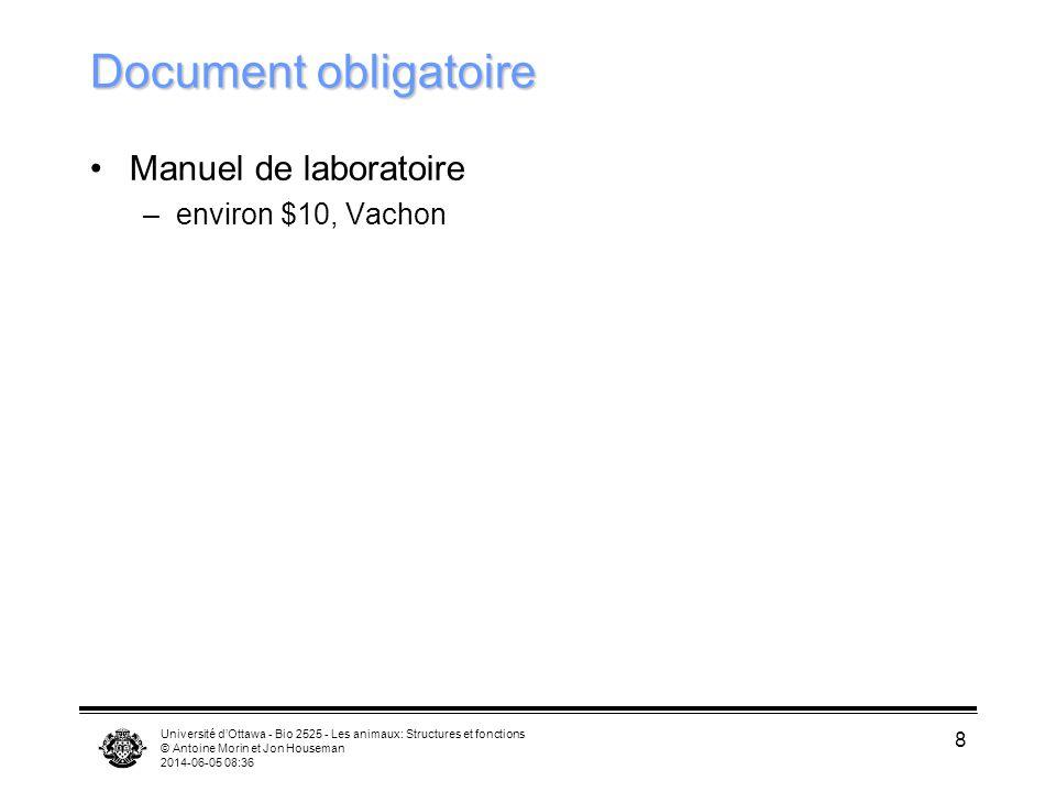Université dOttawa - Bio 2525 - Les animaux: Structures et fonctions © Antoine Morin et Jon Houseman 2014-06-05 08:38 8 Document obligatoire Manuel de