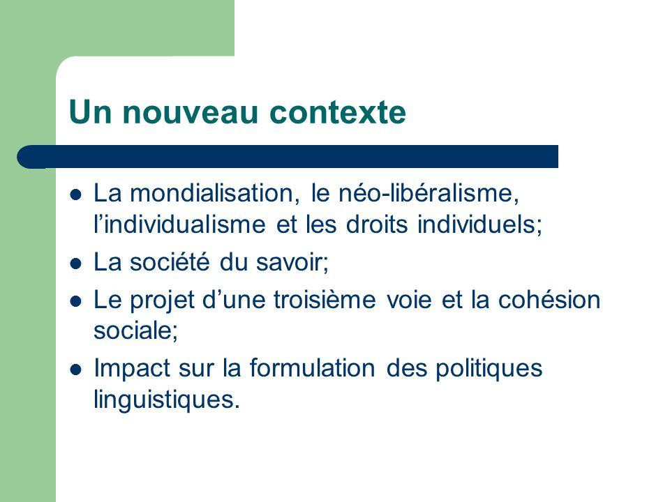 Un nouveau contexte La mondialisation, le néo-libéralisme, lindividualisme et les droits individuels; La société du savoir; Le projet dune troisième voie et la cohésion sociale; Impact sur la formulation des politiques linguistiques.