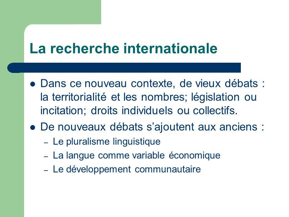 La recherche internationale Dans ce nouveau contexte, de vieux débats : la territorialité et les nombres; législation ou incitation; droits individuels ou collectifs.