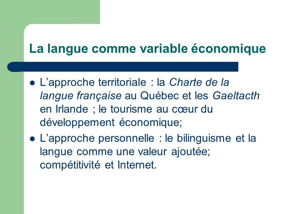 La langue comme variable économique Lapproche territoriale : la Charte de la langue française au Québec et les Gaeltacth en Irlande ; le tourisme au cœur du développement économique; Lapproche personnelle : le bilinguisme et la langue comme une valeur ajoutée; compétitivité et Internet.