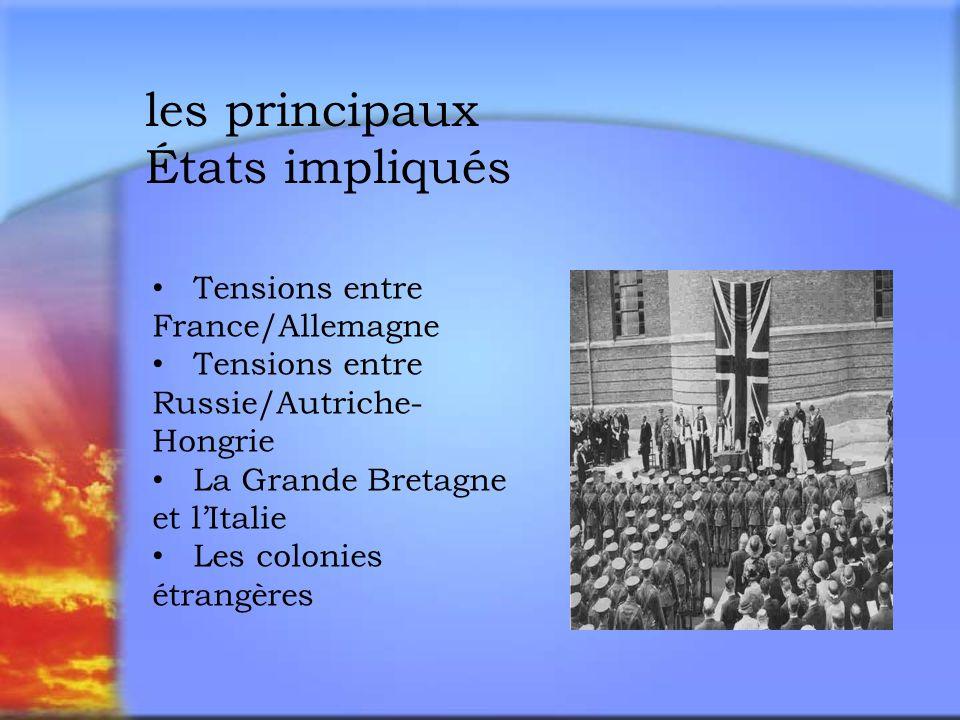 les principaux États impliqués Tensions entre France/Allemagne Tensions entre Russie/Autriche- Hongrie La Grande Bretagne et lItalie Les colonies étrangères