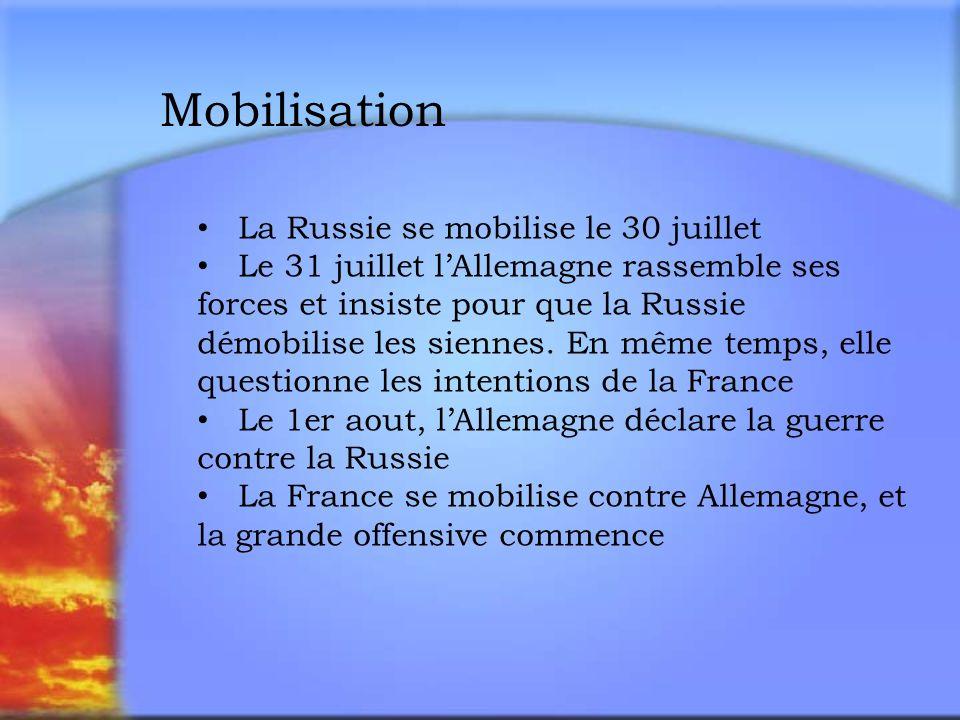 Mobilisation La Russie se mobilise le 30 juillet Le 31 juillet lAllemagne rassemble ses forces et insiste pour que la Russie démobilise les siennes.