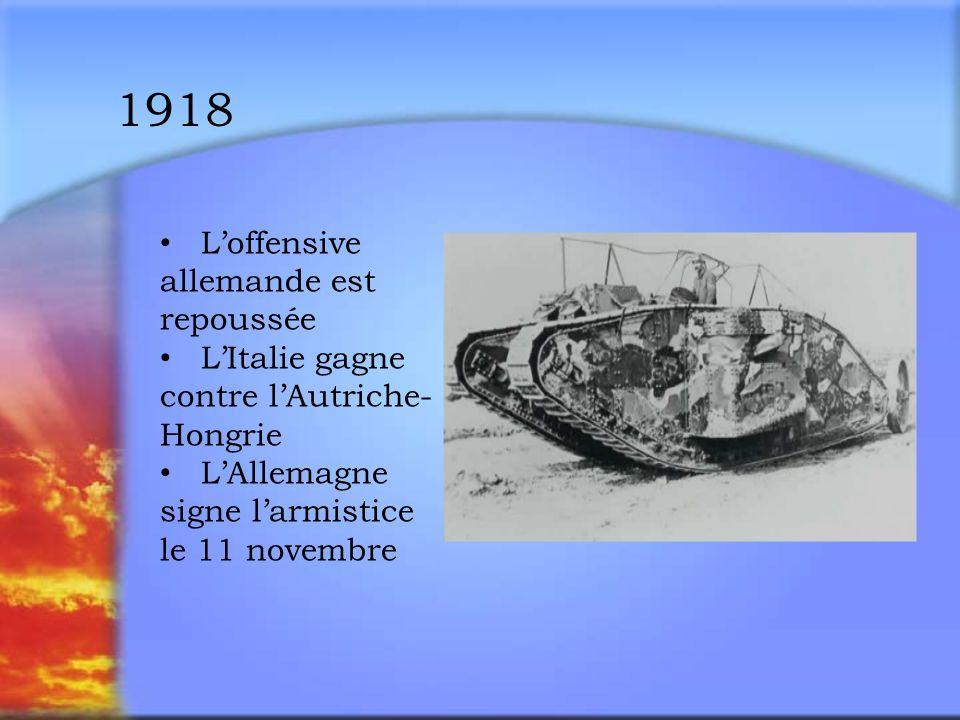 le Traité de Versailles et ses Conséquences La France veut que LAllemagne soit désarmée de manière permanente LItalie ne reçoit aucun territoire En décembre, lAutriche-Hongrie est divisée La Tchécoslovaquie et la Yougoslavie sont créées La Société des Nations est formée en 1920