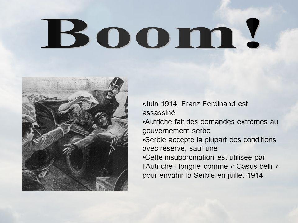 Juin 1914, Franz Ferdinand est assassiné Autriche fait des demandes extrêmes au gouvernement serbe Serbie accepte la plupart des conditions avec réserve, sauf une Cette insubordination est utilisée par lAutriche-Hongrie comme « Casus belli » pour envahir la Serbie en juillet 1914.