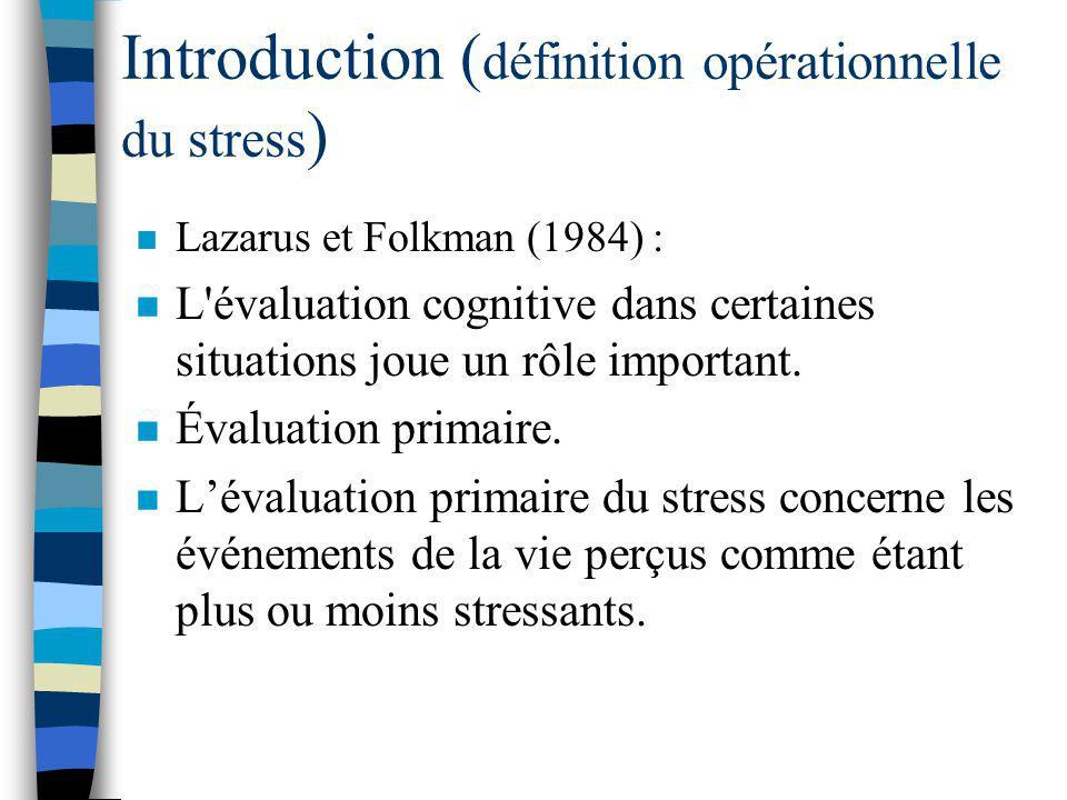 Introduction ( définition opérationnelle du stress ) n Stress provient de Lazarus (1966). n Trois sources principales ****: –Les médiateurs personnels