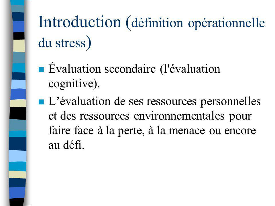 Introduction ( définition opérationnelle du stress ) n Selon les individus et les situations, un événement social problématique peut être vu par certa