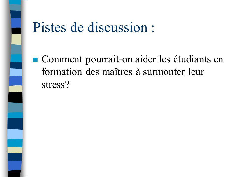 Pistes de discussion : n Est-ce que le stage en enseignement augmente le niveau de stress chez les stagiaires en enseignement.
