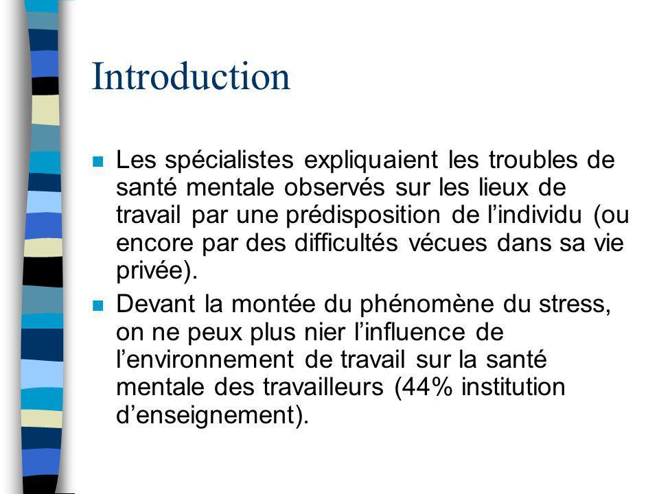 Introduction n Brun (2002) a examiné la détresse psychologique : pépinière = 39% aluminerie = 42% institution denseignement = 44% centre hospitalier =