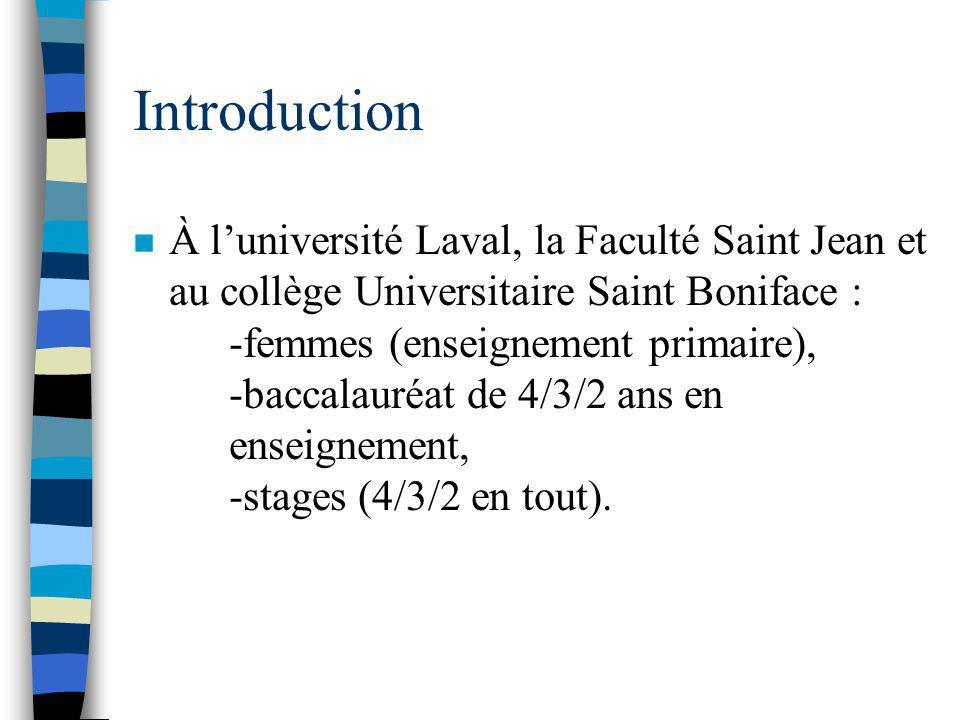 Introduction n À luniversité Laval, la Faculté Saint Jean et au collège Universitaire Saint Boniface : -femmes (enseignement primaire), -baccalauréat de 4/3/2 ans en enseignement, -stages (4/3/2 en tout).