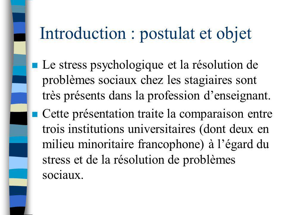 Introduction : postulat et objet n Le stress psychologique et la résolution de problèmes sociaux chez les stagiaires sont très présents dans la profession denseignant.