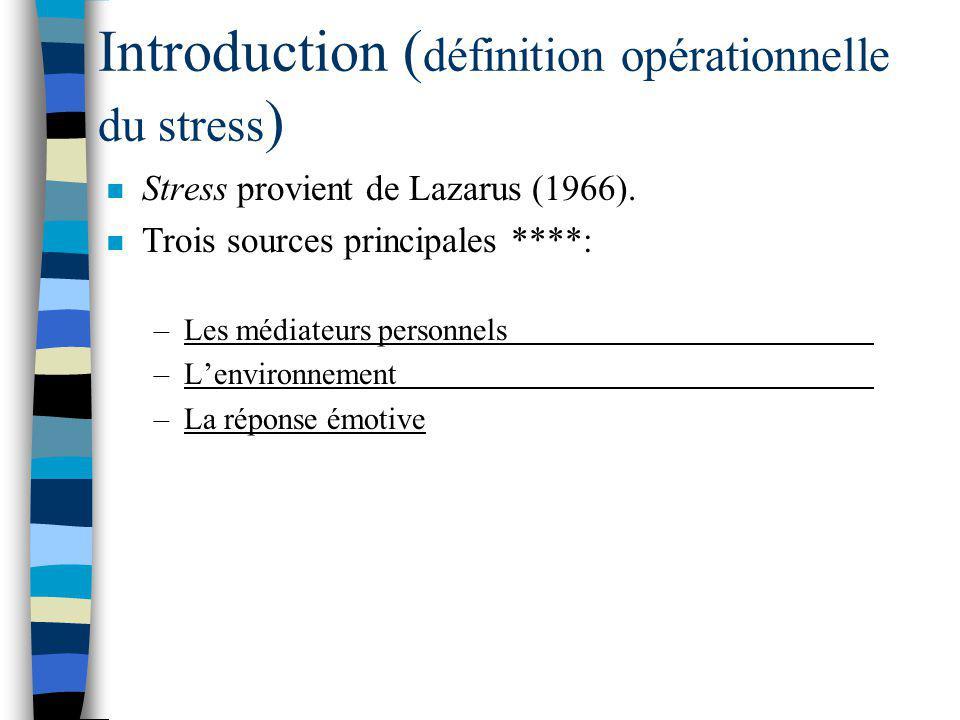 Introduction ( définition opérationnelle du stress ) n Stress provient de Lazarus (1966).