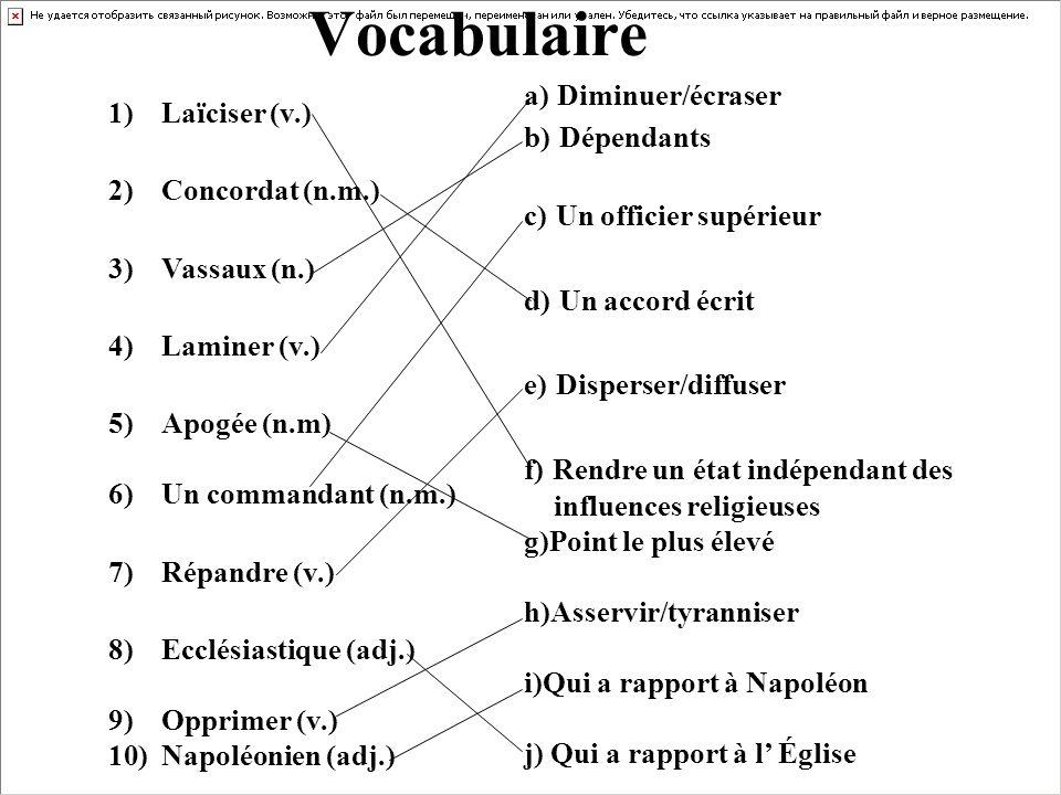 1)Laïciser (v.) 2)Concordat (n.m.) 3)Vassaux (n.) 4)Laminer (v.) 5)Apogée (n.m) 6)Un commandant (n.m.) 7)Répandre (v.) 8)Ecclésiastique (adj.) 9)Oppri