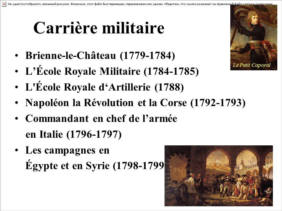 Carrière militaire Brienne-le-Château (1779-1784) LÉcole Royale Militaire (1784-1785) L'École Royale dArtillerie (1788) Napoléon la Révolution et la C