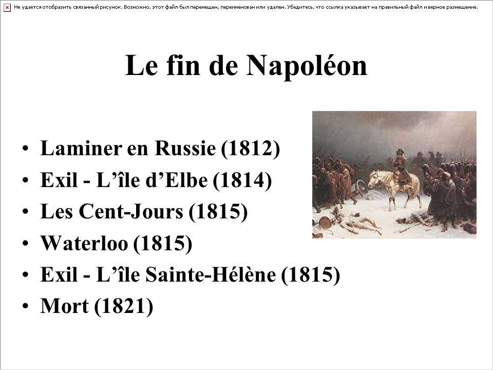 Le fin de Napoléon Laminer en Russie (1812) Exil - Lîle dElbe (1814) Les Cent-Jours (1815) Waterloo (1815) Exil - Lîle Sainte-Hélène (1815) Mort (1821